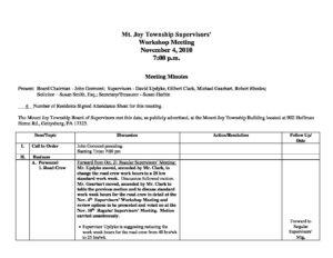 Supervisor's Workshop Meeting @ Mt. Joy Twp. | Gettysburg | Pennsylvania | United States
