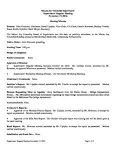 Board of Supervisors' Meeting @ Mount Joy Township Municipal Building   Gettysburg   Pennsylvania   United States
